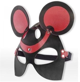 Черно-красная маска мышки из кожи