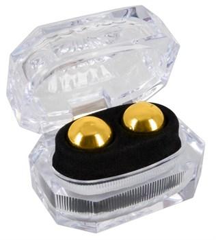 Золотистые вагинальные шарики Ben Wa Balls в шкатулке