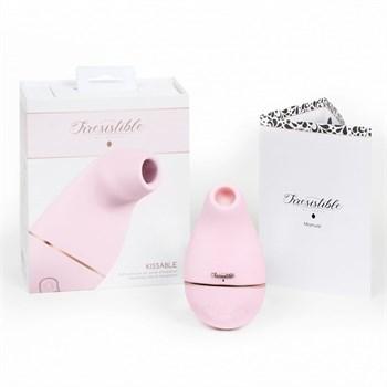 Розовый клиторальный вакуум-волновой массажер Irresistible Kissable