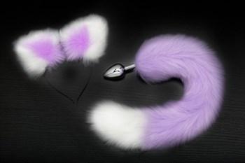 Серебристая анальная пробка с фиолетово-белым хвостиком и ободком-ушками