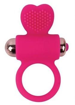 Розовое эрекционное виброкольцо с сердечком