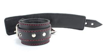 Черный бондажный набор с красной строчкой