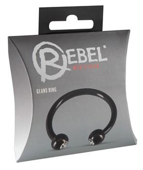Черное металлическое кольцо под головку со стразами Glans Ring