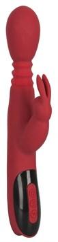 Красный вибромассажер с клиторальным отростком Rabbit Vibrator - 26,5 см.