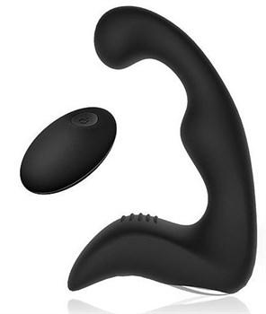 Черный силиконовый массажер простаты с пультом ДУ