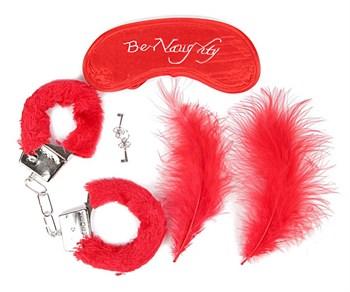 Набор красных БДСМ-аксессуаров из 4 предметов