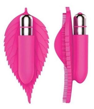 Розовый клиторальный стимулятор в виде листика - 12,5 см.