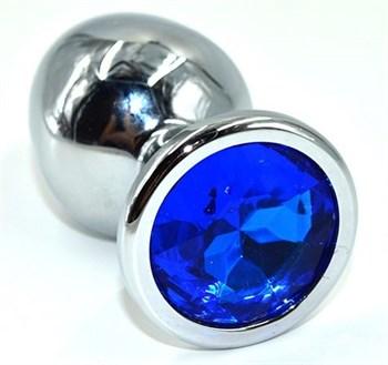 Серебристая анальная пробка из нержавеющей стали с синим кристаллом - 8,5 см.