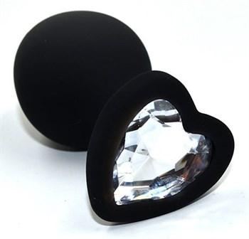 Черная анальная силиконовая пробка с прозрачным кристаллом в форме сердца - 8,8 см.