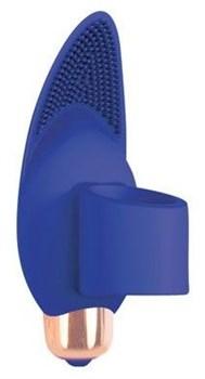 Синий вибростимулятор с петелькой под палец - 8 см.