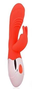 Красный вибромассажер с клиторальным зайчиком