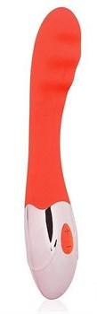 Красный ребристый вибромассажер с 10 режимами вибрации