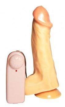 Вибромассажер-реалистик №26 телесного цвета с присоской - 19,5 см.