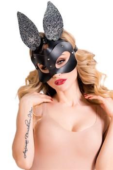 Черная кожаная маска с ушками Bonny