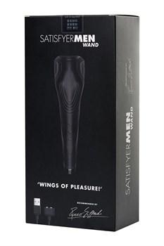 Чёрный нереалистичный мастурбатор с вибрацией Satisfyer Men Wand