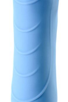 Голубой силиконовый вибратор с функцией нагрева и пульсирующими шариками FAHRENHEIT - 19 см.