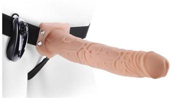 Телесный полый страпон на ремне 11  Vibrating Hollow Strap-On - 30 см.