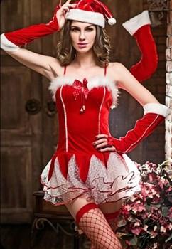 Новогодний костюм с мини-платьем и шапочкой
