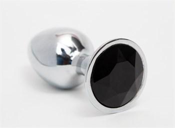 Серебристая анальная пробка с черным кристаллом - 8,2 см.