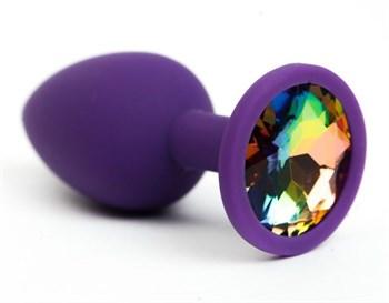 Фиолетовая анальная пробка с радужным стразом - 7,6 см.