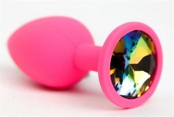 Розовая анальная пробка с радужным стразом - 7,6 см.