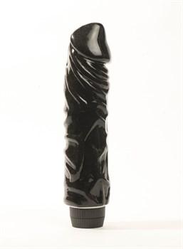 Черный вибратор-реалистик с венками - 22 см.