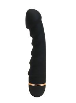 Черный ребристый вибратор с 20 режимами вибрации - 16,5 см.