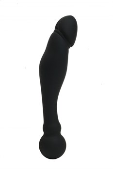 Черный изогнутый двусторонний фаллоимитатор - 18 см.