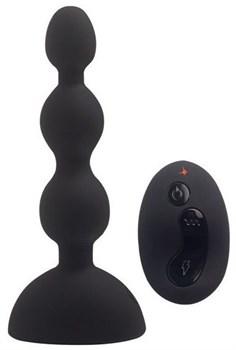 Черный анальный вибростимулятор Anal Beads S с пультом ДУ - 14,5 см.
