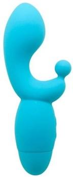 Голубой вибратор INDULGENCE G Kiss - 16,5 см.