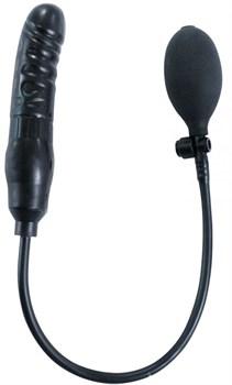 Черный фаллоимитатор с грушей Pump Up Dong - 17 см.