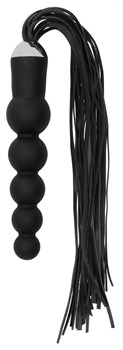 Черная плеть с рукоятью-елочкой Whip with Curved Silicone Dildo - 49,5 см.