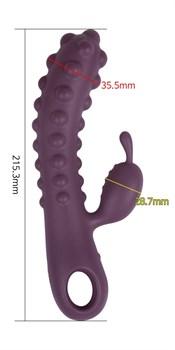 Фиолетовый вибромассажер SMON №1 с бугорками - 21,5 см.