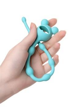 Мятная силиконовая анальная цепочка Froggy - 27,4 см.