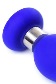 Синяя силиконовая анальная втулка с ограничителем - 10 см.