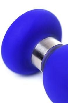 Синяя силиконовая анальная втулка с ограничителем - 11,5 см.