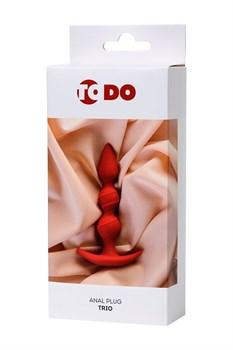 Красная силиконовая анальная втулка Trio - 16 см.