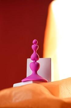 Розовая силиконовая анальная пробка Loverty - 8 см.