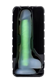 Прозрачно-зеленый фаллоимитатор, светящийся в темноте, Clark Glow - 22 см.