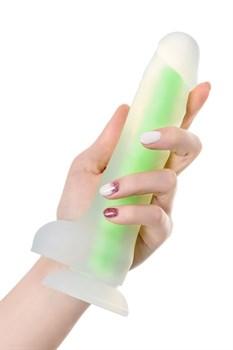 Прозрачно-зеленый фаллоимитатор, светящийся в темноте, Wade Glow - 20 см.