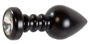 Черная рельефная анальная пробка с прозрачным стразом - 9 см.