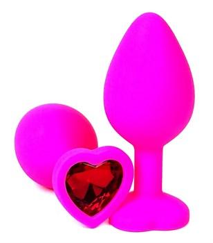 Розовая силиконовая пробка с красным кристаллом-сердцем - 10,5 см.
