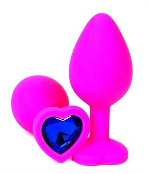Розовая силиконовая пробка с синим кристаллом-сердцем - 10,5 см.
