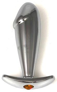 Серебристая пробка-фаллос с оранжевым кристаллом-сердцем – 9,5 см.