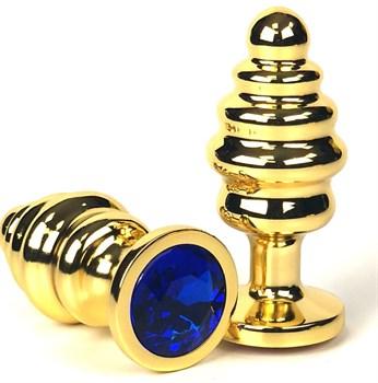 Золотистая ребристая анальная пробка с синим кристаллом - 6 см.