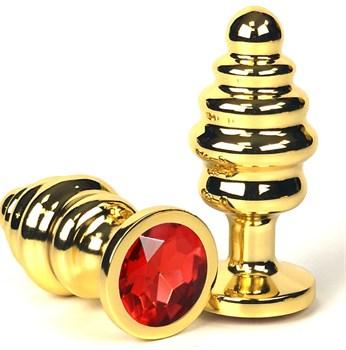 Золотистая ребристая анальная пробка с красным кристаллом - 6 см.