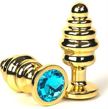 Золотистая ребристая анальная пробка с голубым кристаллом - 6 см.