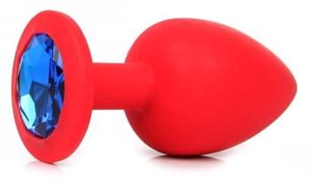 Красная силиконовая анальная пробка с синим стразом - 9,2 см.