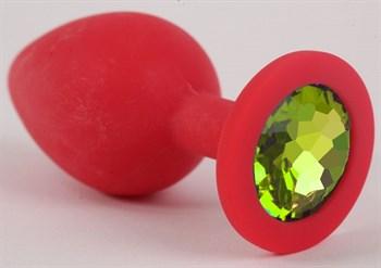 Красная силиконовая анальная пробка с лаймовым стразом - 9,2 см.