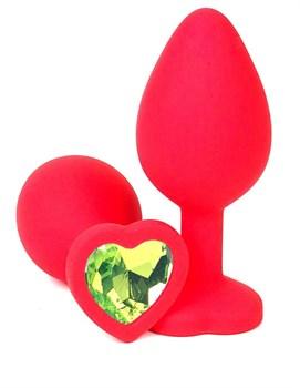 Красная силиконовая анальная пробка с лаймовым стразом-сердцем - 8 см.